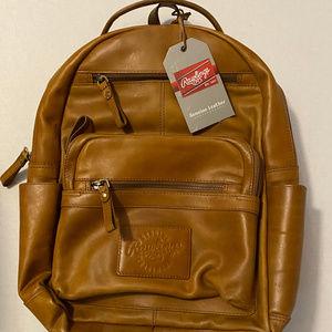 Rawlings Tan Rugged 15 inch Leather Backpack